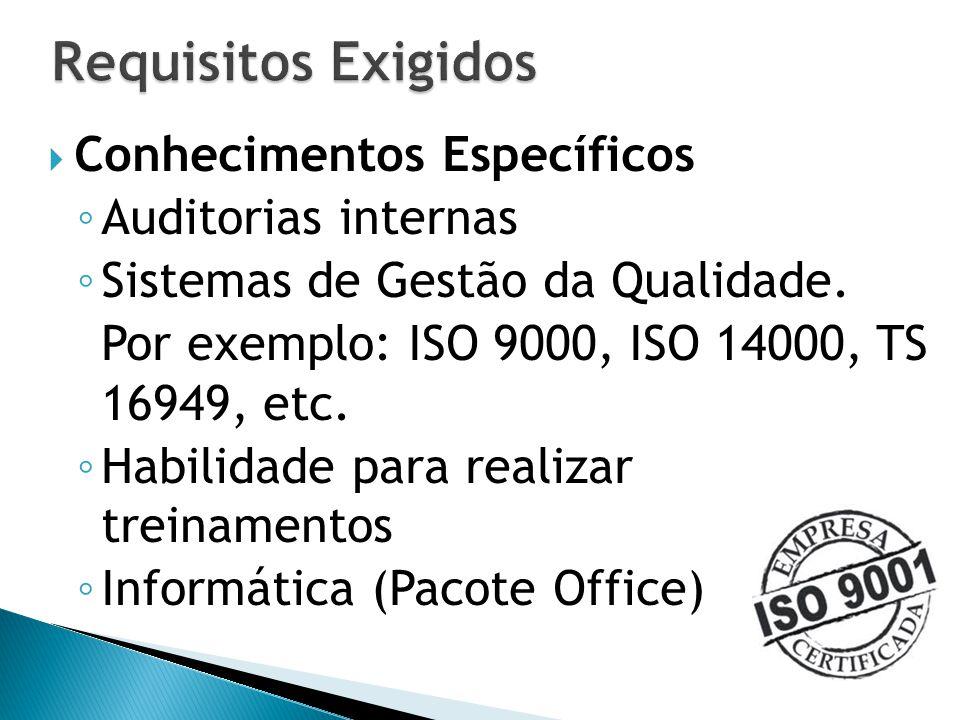 Requisitos Exigidos Conhecimentos Específicos Auditorias internas