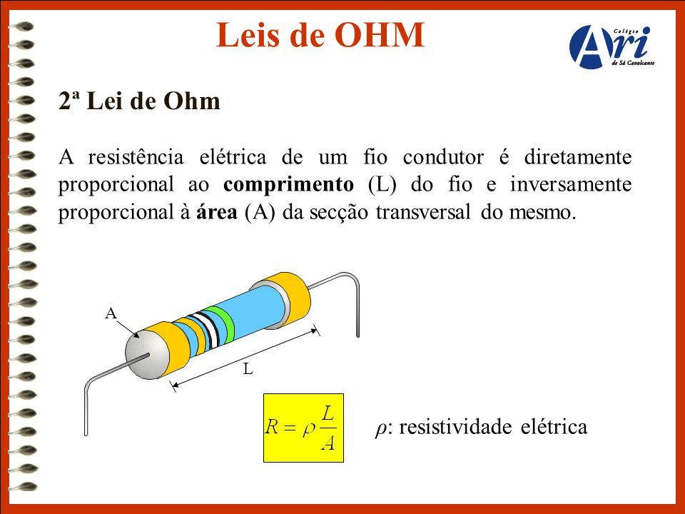 Leis de OHM 2ª Lei de Ohm.