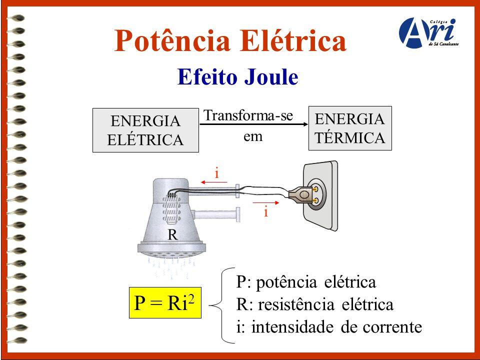 Potência Elétrica Efeito Joule P = Ri2