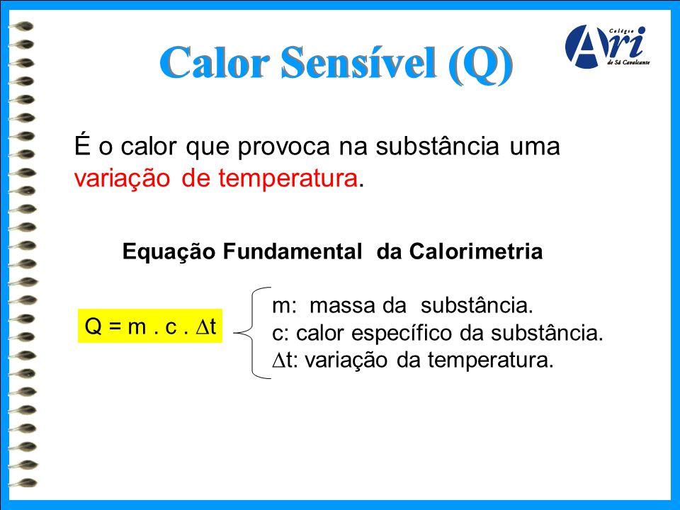 Calor Sensível (Q) É o calor que provoca na substância uma variação de temperatura. Equação Fundamental da Calorimetria.