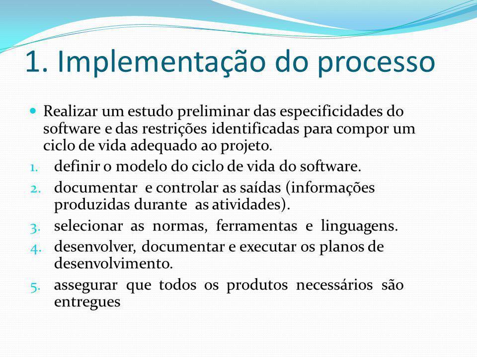 1. Implementação do processo