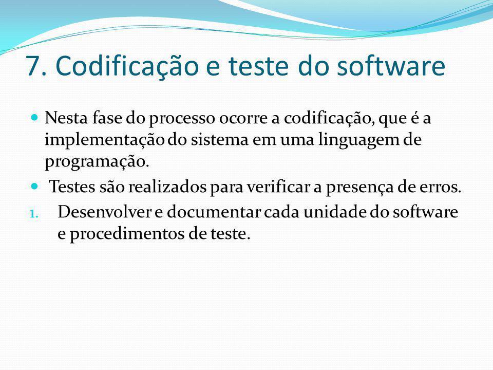 7. Codificação e teste do software