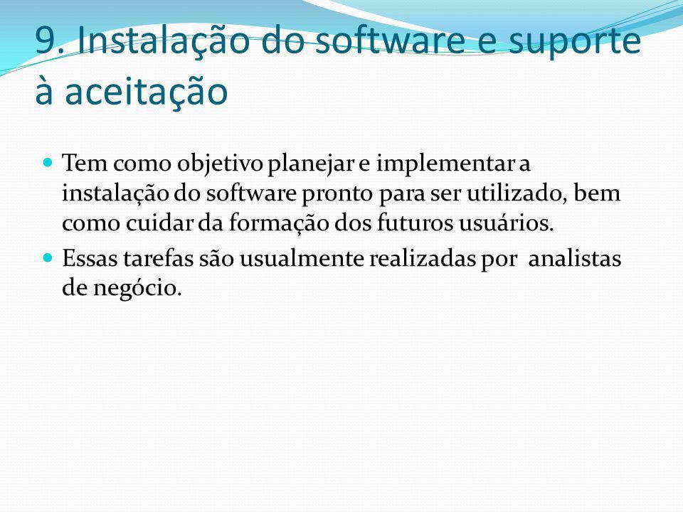 9. Instalação do software e suporte à aceitação