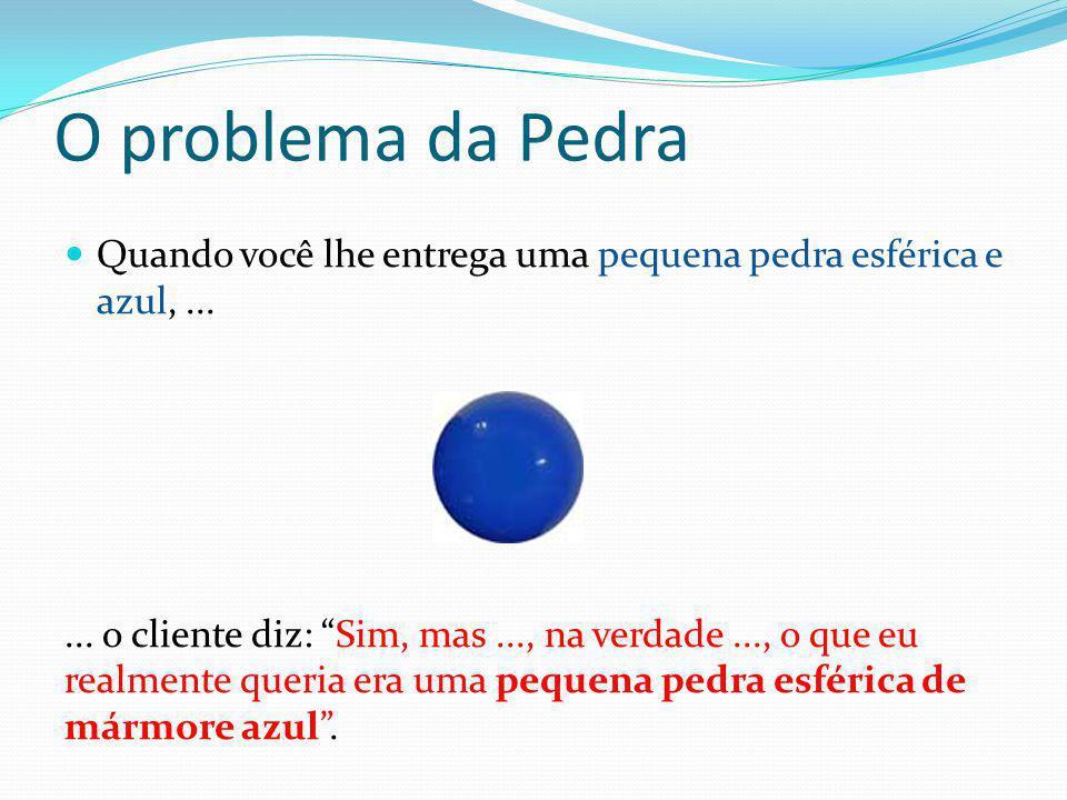 O problema da Pedra Quando você lhe entrega uma pequena pedra esférica e azul, ...