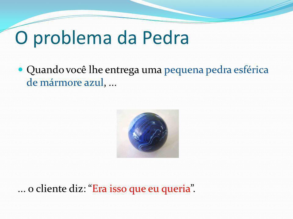 O problema da Pedra Quando você lhe entrega uma pequena pedra esférica de mármore azul, ...