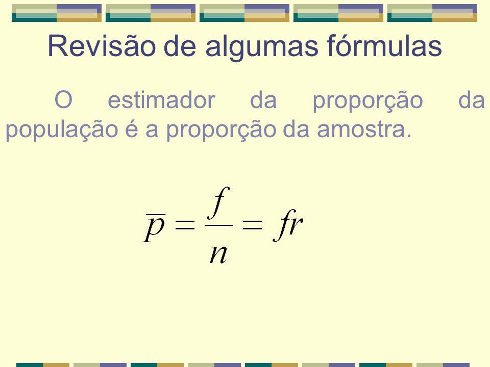 Revisão de algumas fórmulas