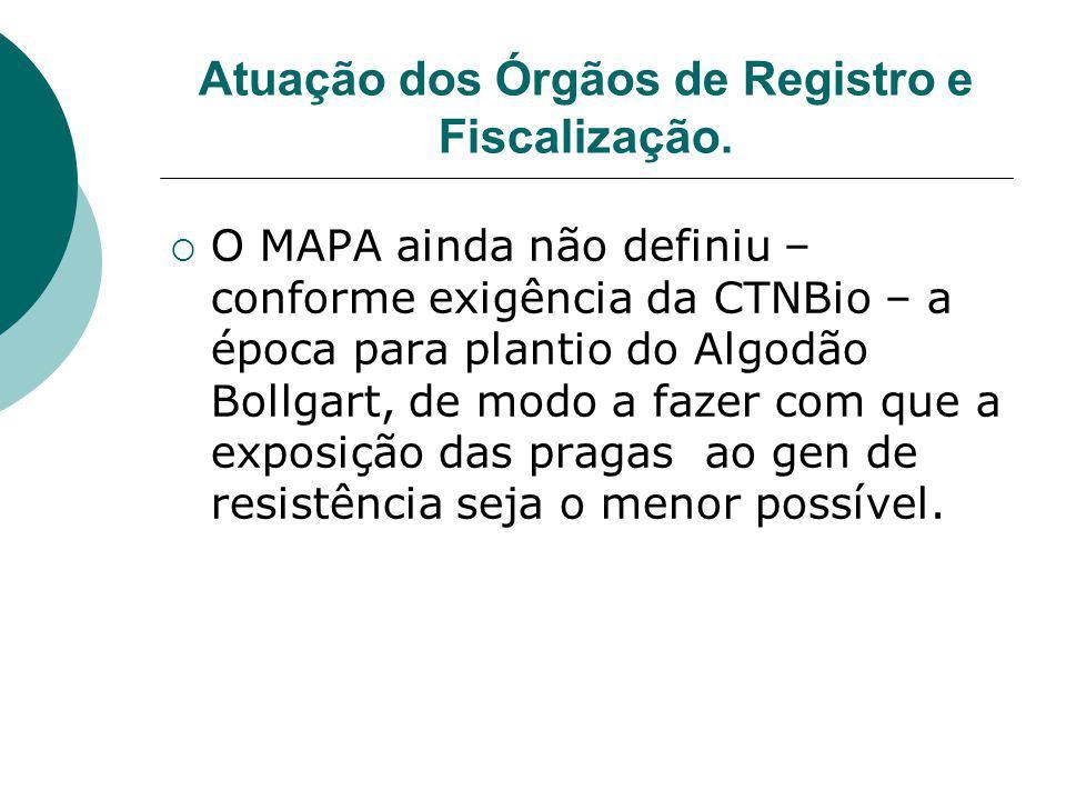 Atuação dos Órgãos de Registro e Fiscalização.