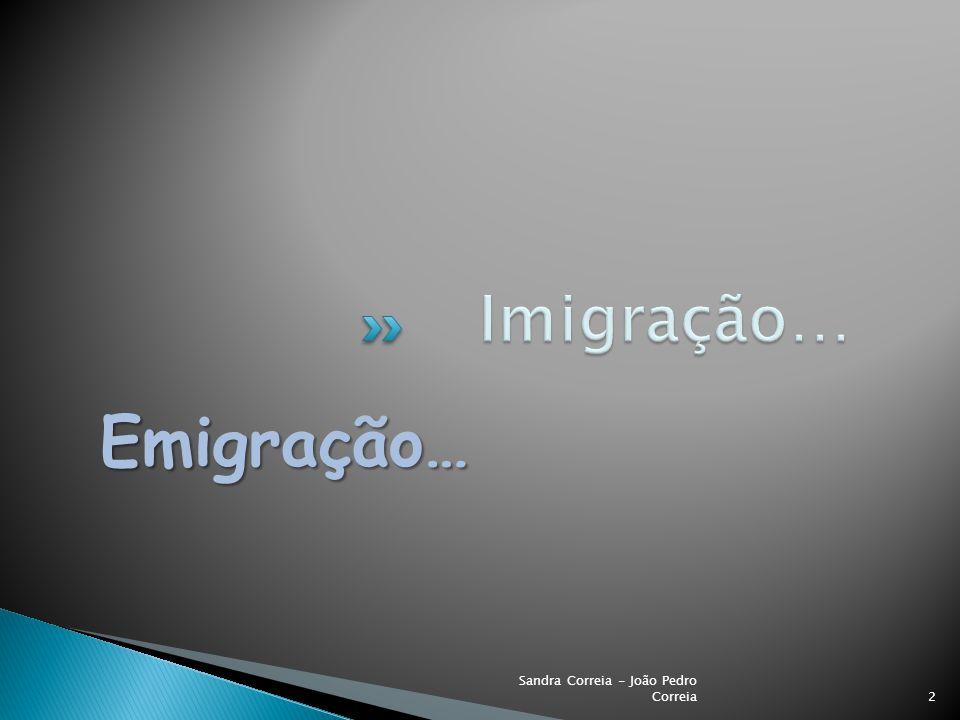 Imigração… Emigração… Sandra Correia - João Pedro Correia