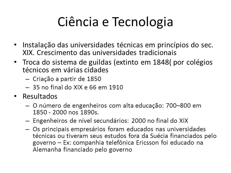 Ciência e Tecnologia Instalação das universidades técnicas em princípios do sec. XIX. Crescimento das universidades tradicionais.