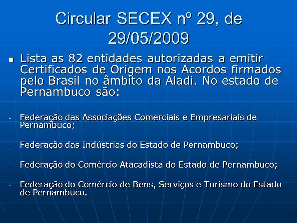 Circular SECEX nº 29, de 29/05/2009