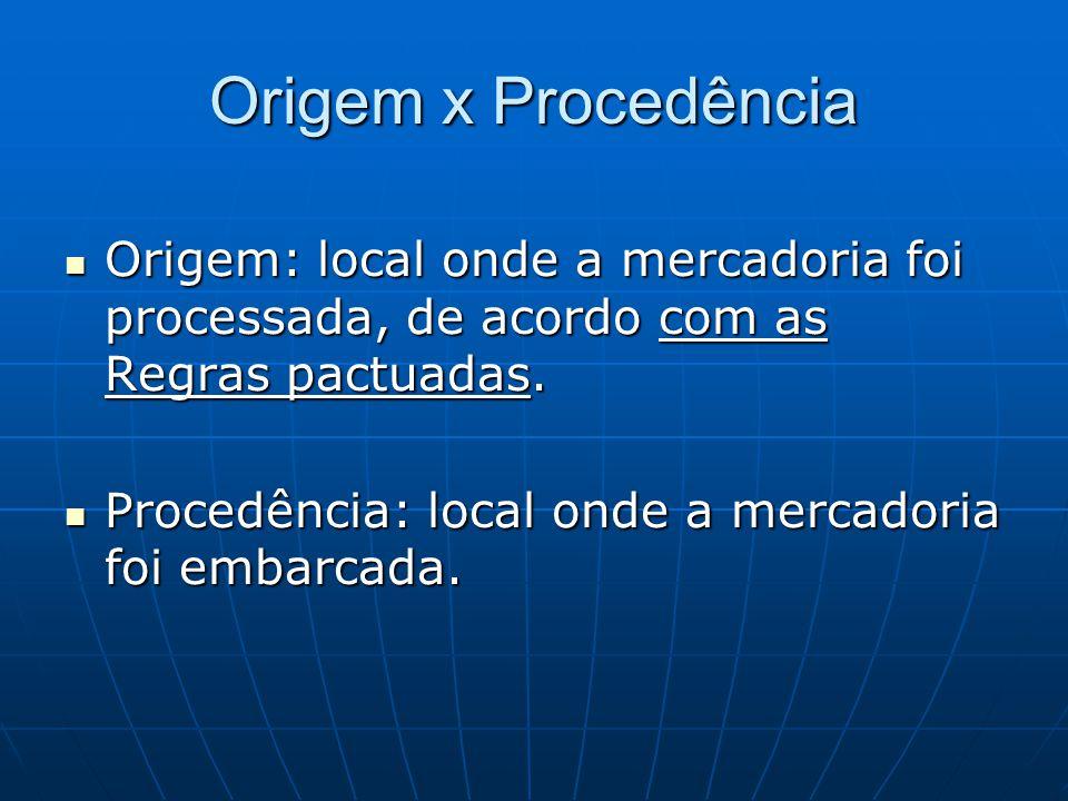 Origem x Procedência Origem: local onde a mercadoria foi processada, de acordo com as Regras pactuadas.