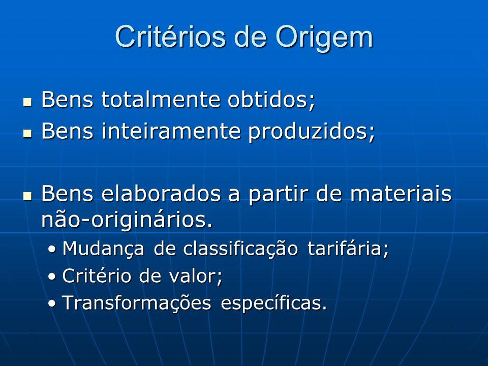 Critérios de Origem Bens totalmente obtidos;