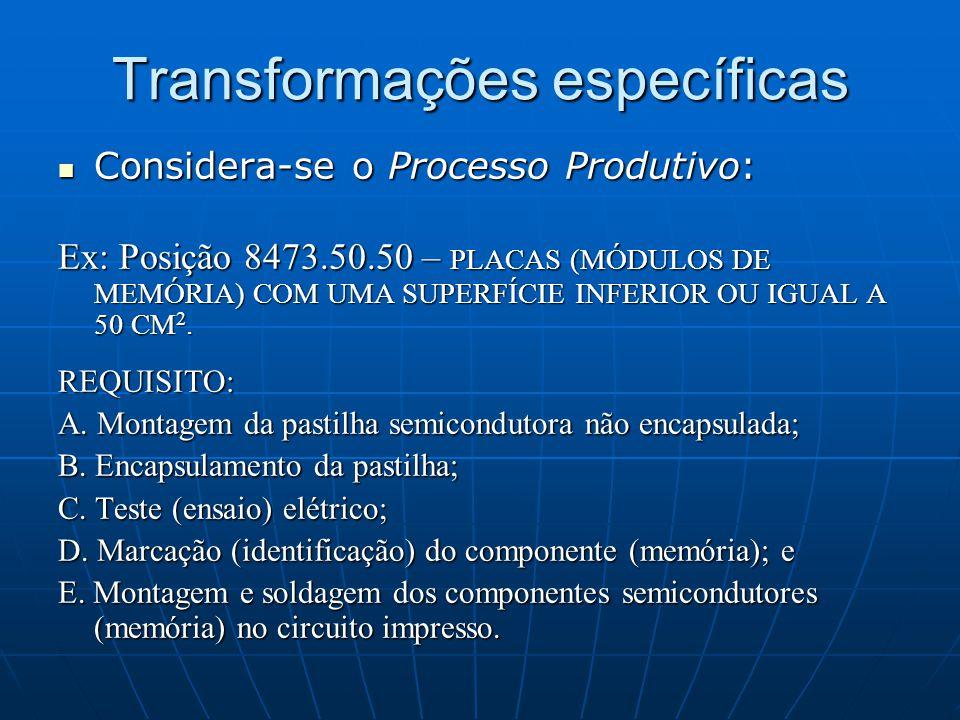Transformações específicas