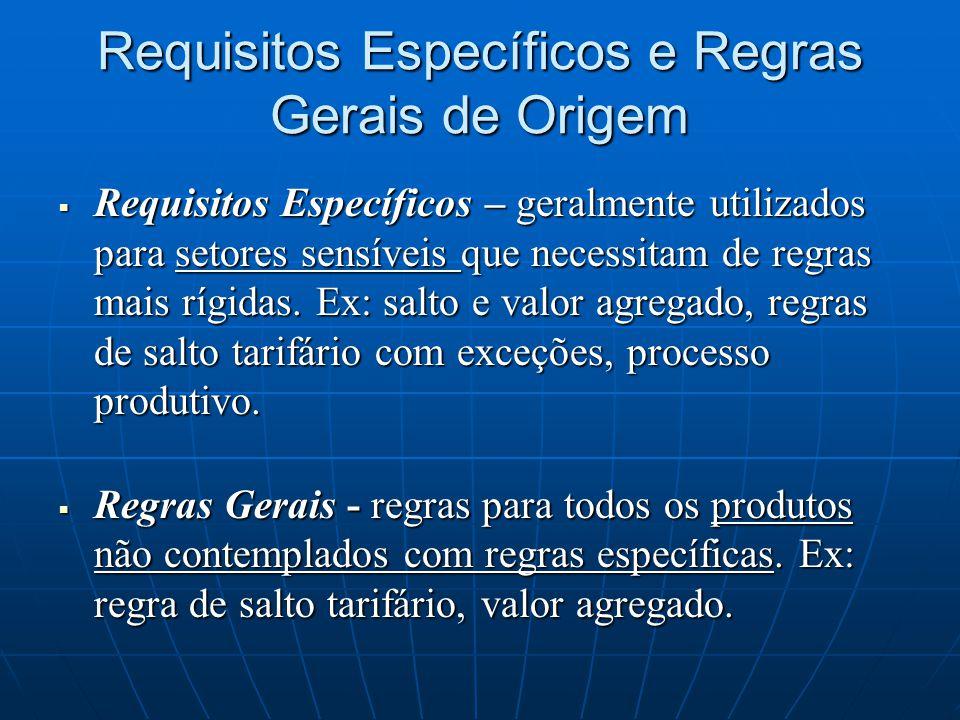 Requisitos Específicos e Regras Gerais de Origem