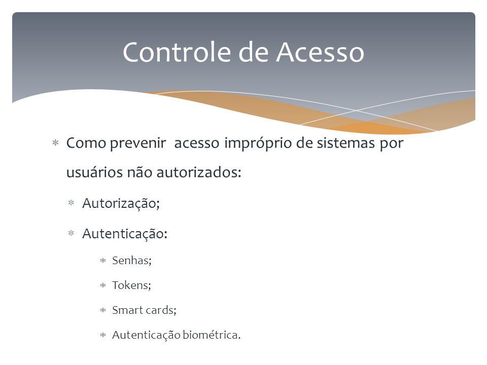 Controle de Acesso Como prevenir acesso impróprio de sistemas por usuários não autorizados: Autorização;