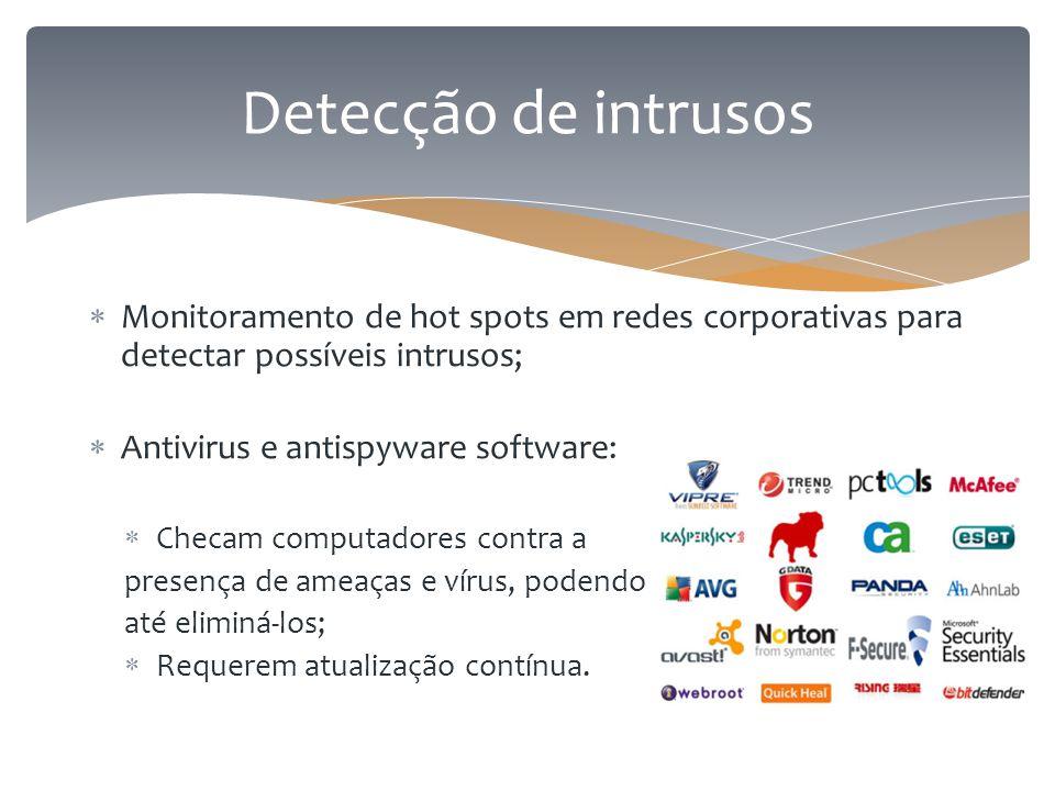 Detecção de intrusos Monitoramento de hot spots em redes corporativas para detectar possíveis intrusos;