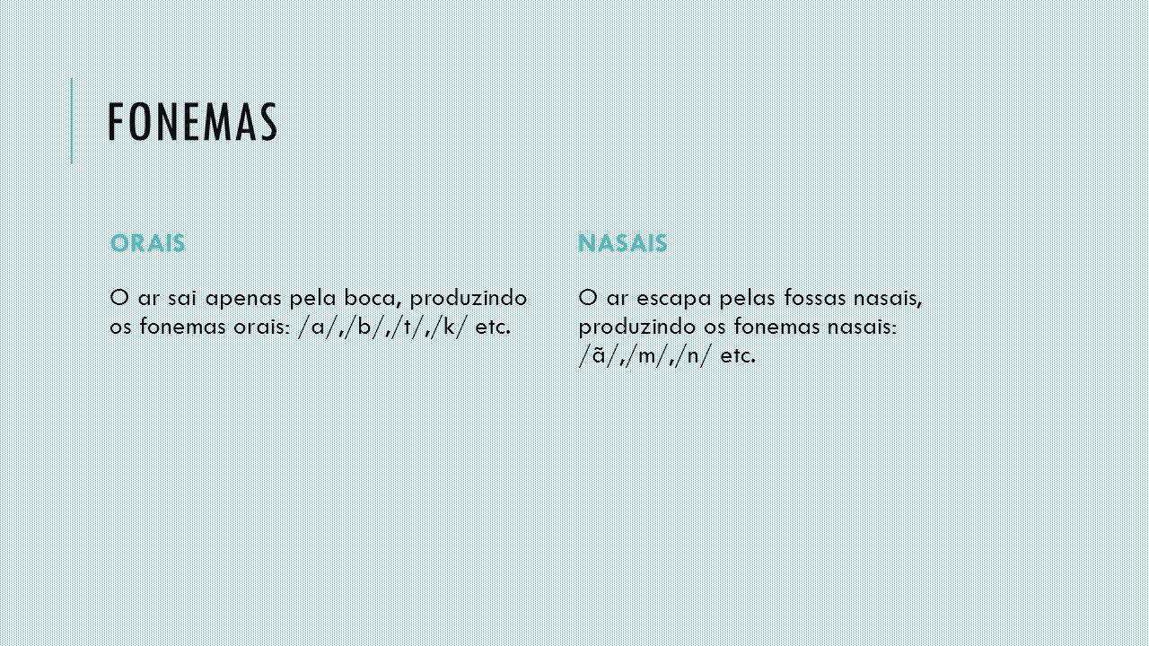 fonemas ORAIS. NASAIS. O ar sai apenas pela boca, produzindo os fonemas orais: /a/,/b/,/t/,/k/ etc.