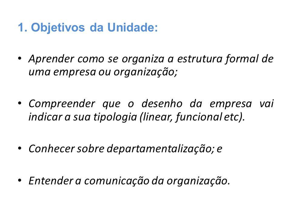 1. Objetivos da Unidade: Aprender como se organiza a estrutura formal de uma empresa ou organização;