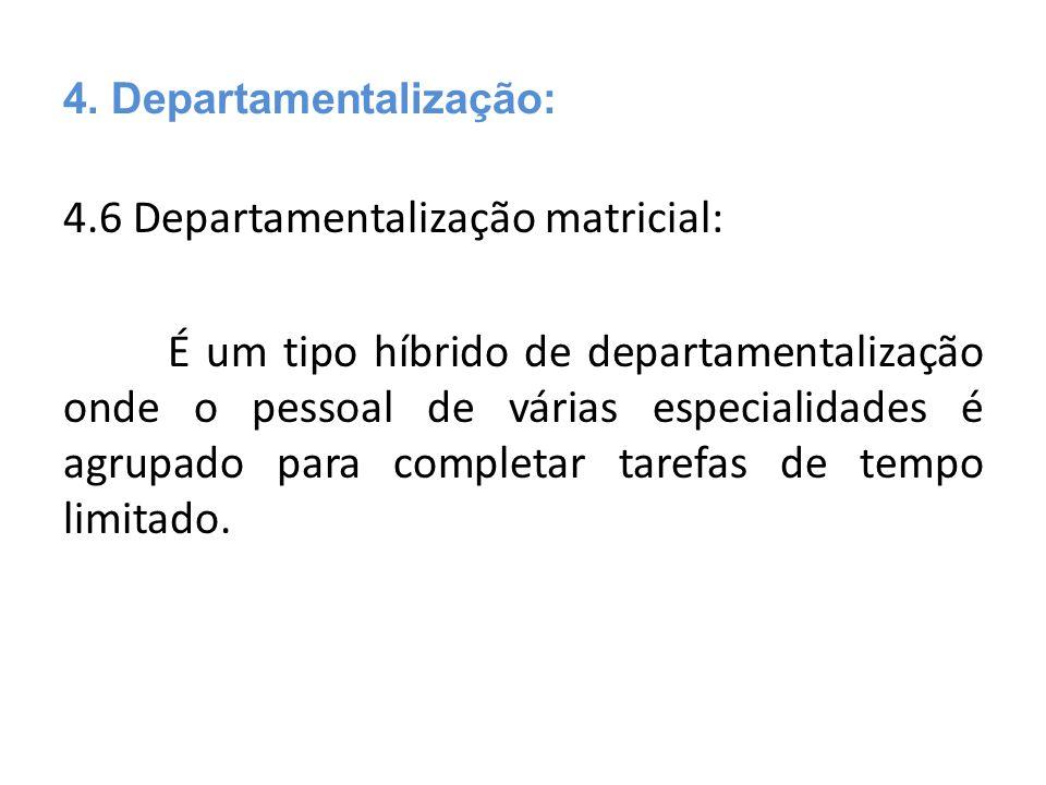 4. Departamentalização: