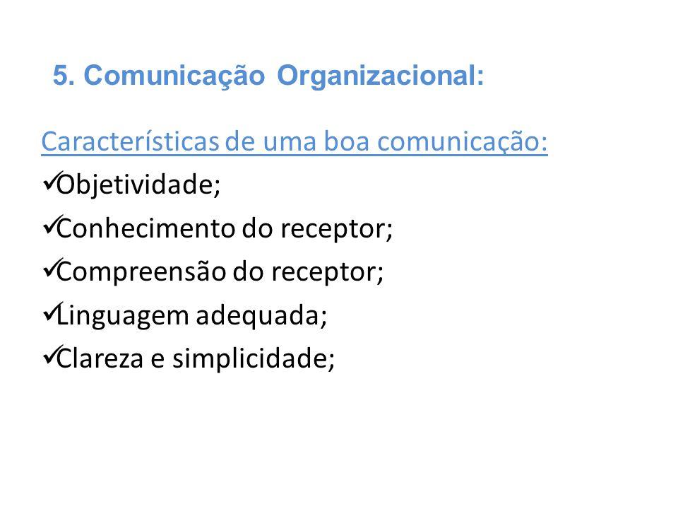 Características de uma boa comunicação: Objetividade;