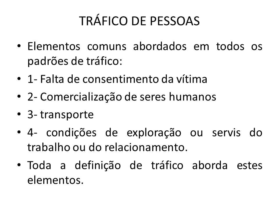 TRÁFICO DE PESSOAS Elementos comuns abordados em todos os padrões de tráfico: 1- Falta de consentimento da vítima.