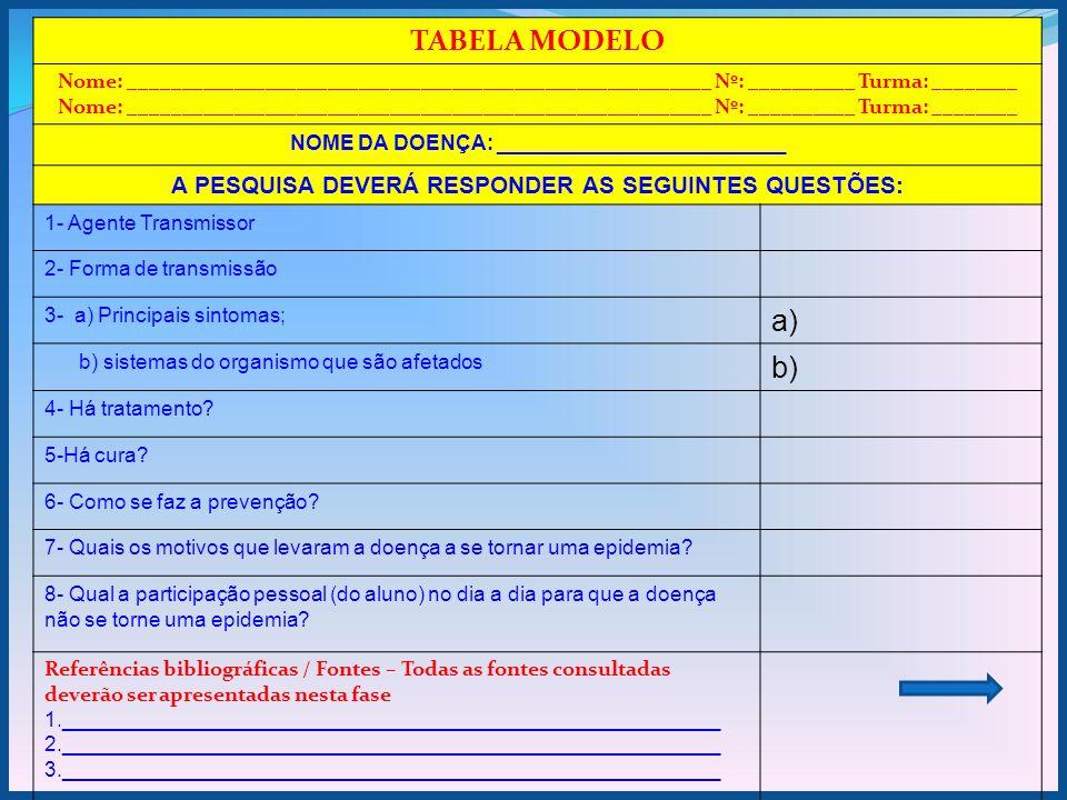 TABELA MODELO a) b) A PESQUISA DEVERÁ RESPONDER AS SEGUINTES QUESTÕES: