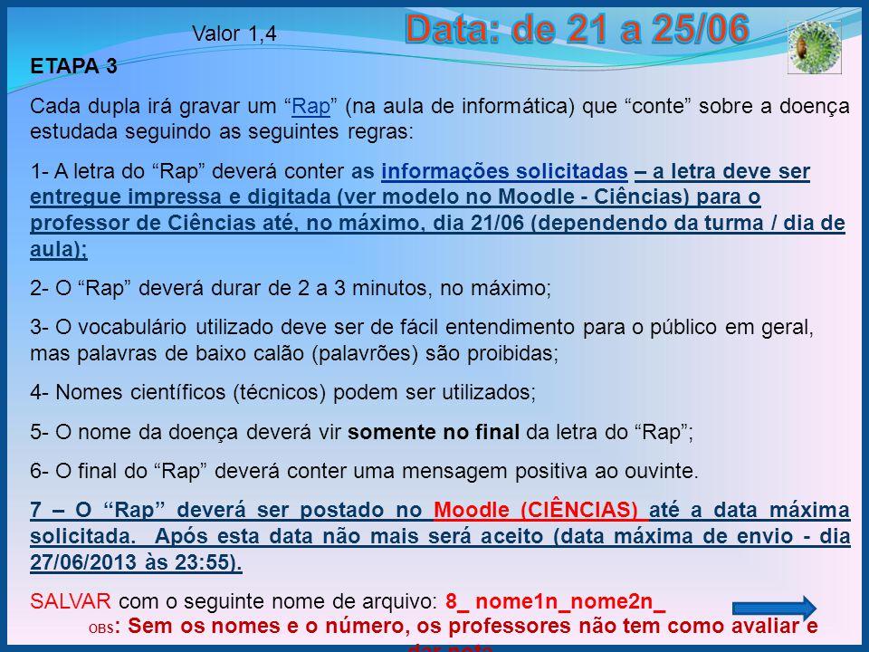 Data: de 21 a 25/06 Valor 1,4. ETAPA 3.