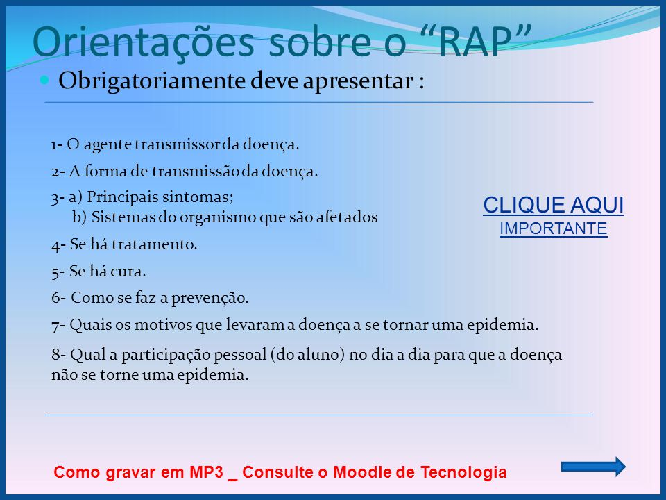 Orientações sobre o RAP