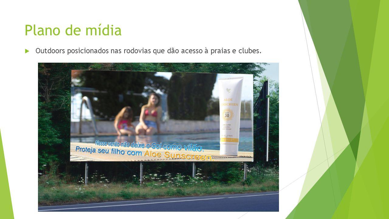 Plano de mídia Outdoors posicionados nas rodovias que dão acesso à praias e clubes.