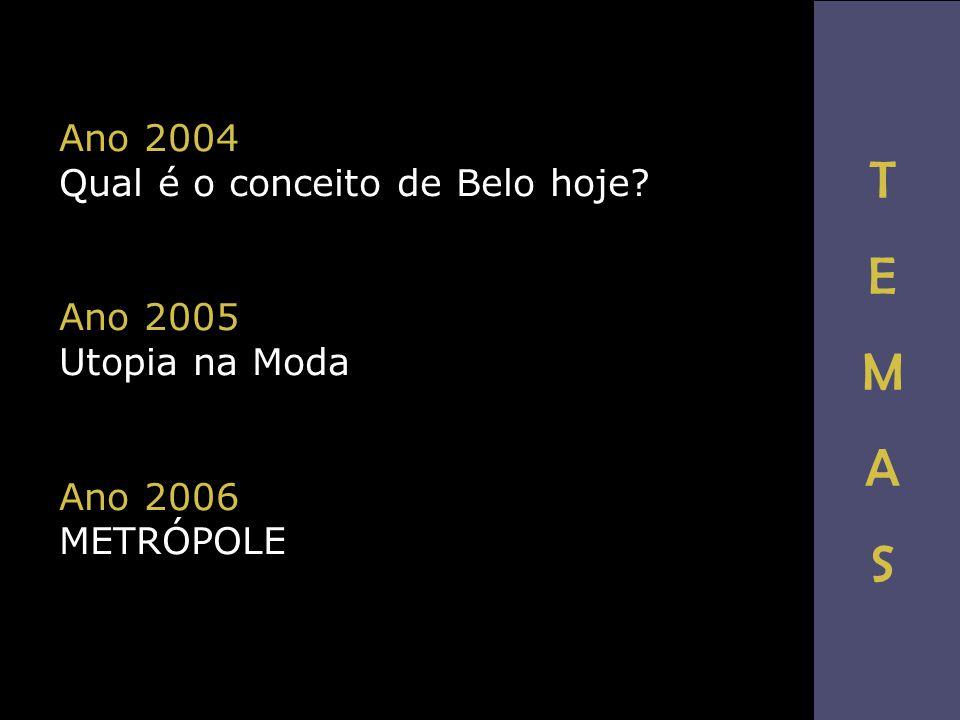 T E M A S Ano 2004 Qual é o conceito de Belo hoje Ano 2005