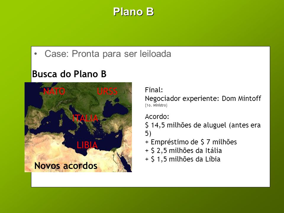 Plano B Case: Pronta para ser leiloada Busca do Plano B NATO URSS