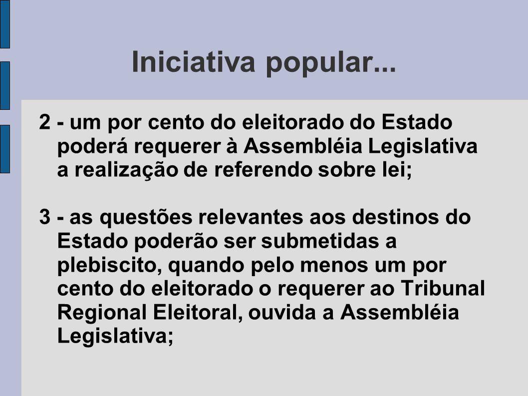 Iniciativa popular... 2 - um por cento do eleitorado do Estado poderá requerer à Assembléia Legislativa a realização de referendo sobre lei;