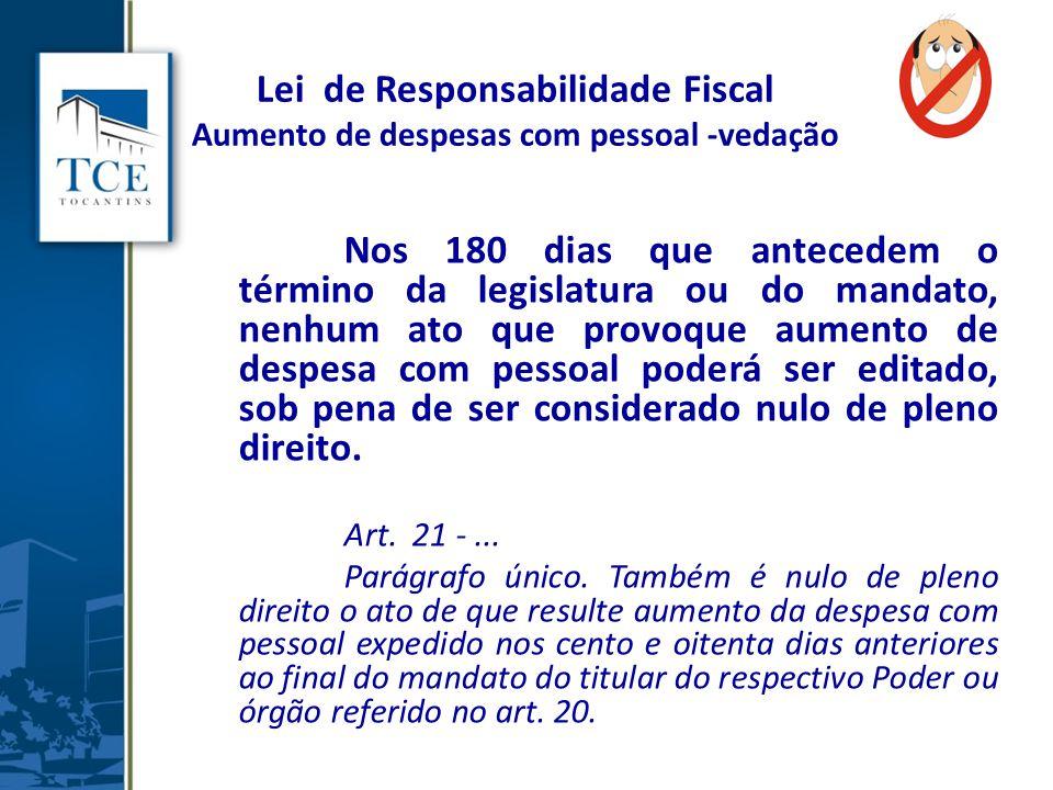 Lei de Responsabilidade Fiscal Aumento de despesas com pessoal -vedação