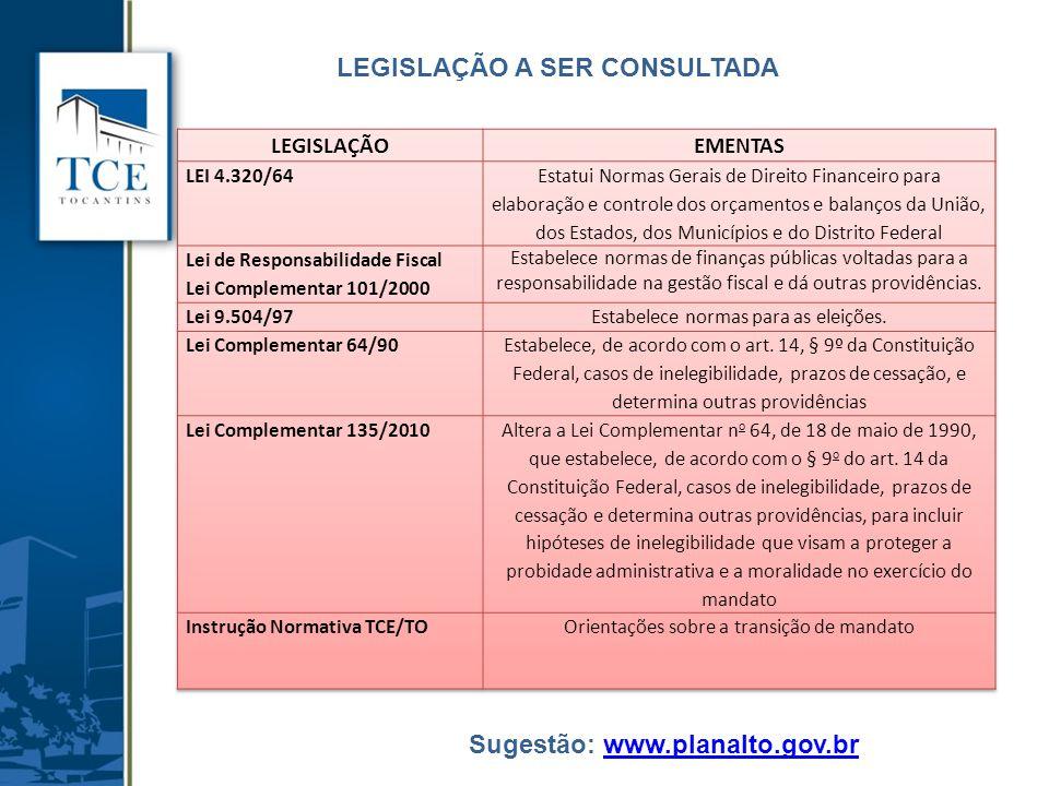 LEGISLAÇÃO A SER CONSULTADA