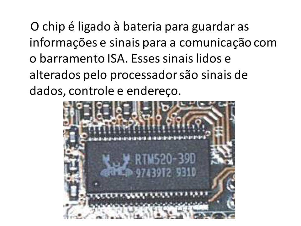 O chip é ligado à bateria para guardar as informações e sinais para a comunicação com o barramento ISA.