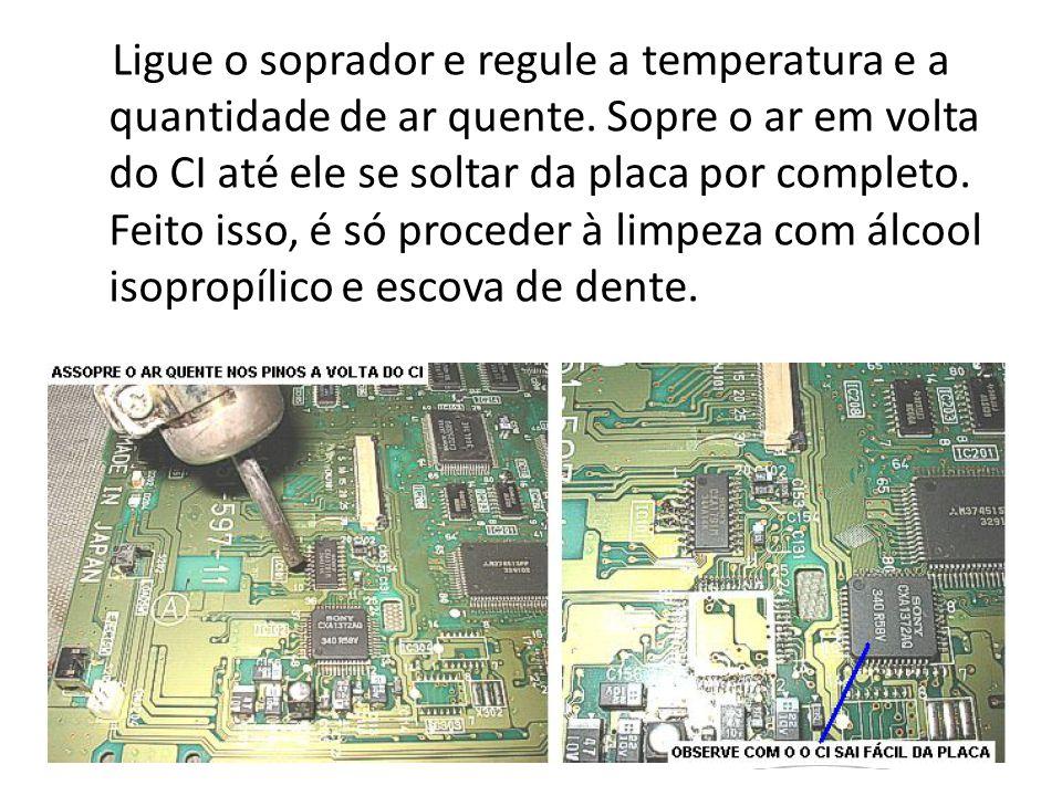 Ligue o soprador e regule a temperatura e a quantidade de ar quente