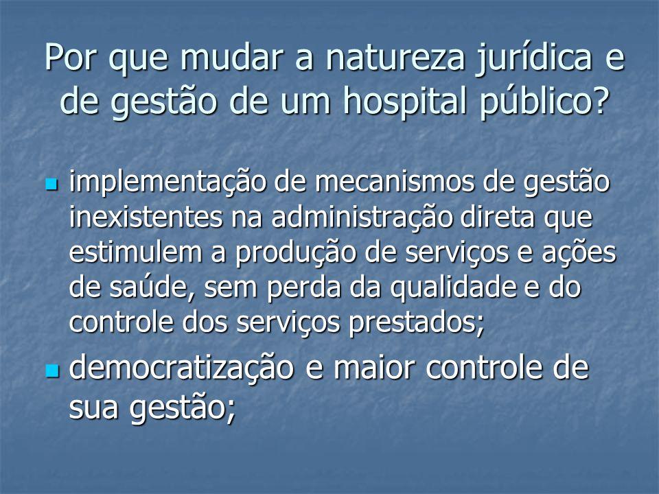 Por que mudar a natureza jurídica e de gestão de um hospital público