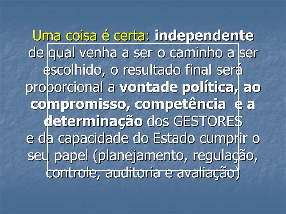 Uma coisa é certa: independente de qual venha a ser o caminho a ser escolhido, o resultado final será proporcional a vontade política, ao compromisso, competência e a determinação dos GESTORES e da capacidade do Estado cumprir o seu papel (planejamento, regulação, controle, auditoria e avaliação)
