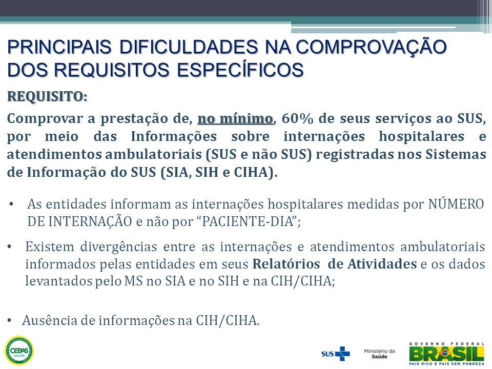 PRINCIPAIS DIFICULDADES NA COMPROVAÇÃO DOS REQUISITOS ESPECÍFICOS