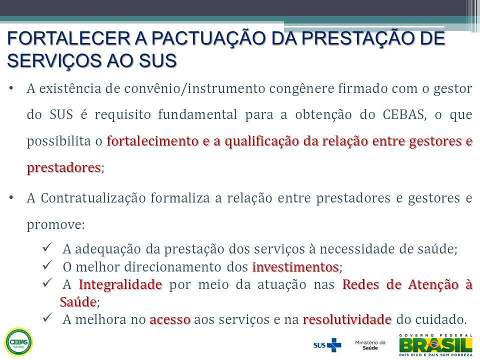 FORTALECER A PACTUAÇÃO DA PRESTAÇÃO DE SERVIÇOS AO SUS