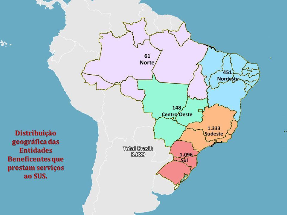 Distribuição geográfica das Entidades Beneficentes que prestam serviços ao SUS.