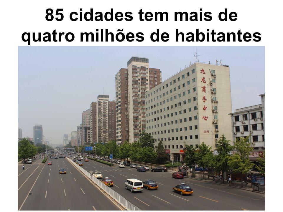 85 cidades tem mais de quatro milhões de habitantes