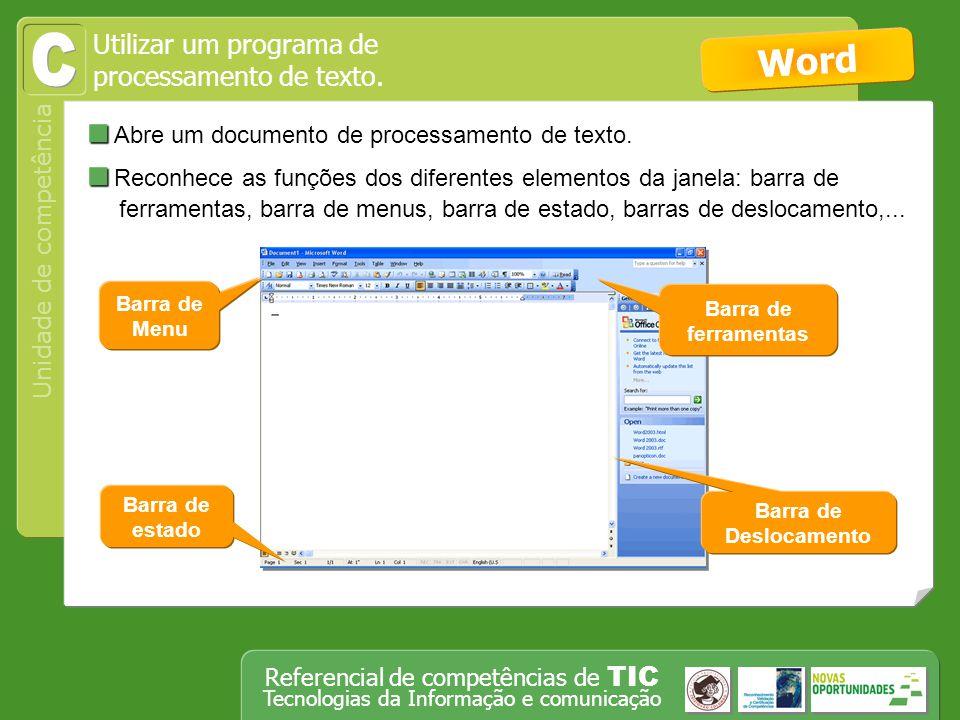 C Word Abre um documento de processamento de texto.