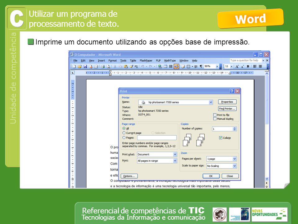 C Word Imprime um documento utilizando as opções base de impressão.