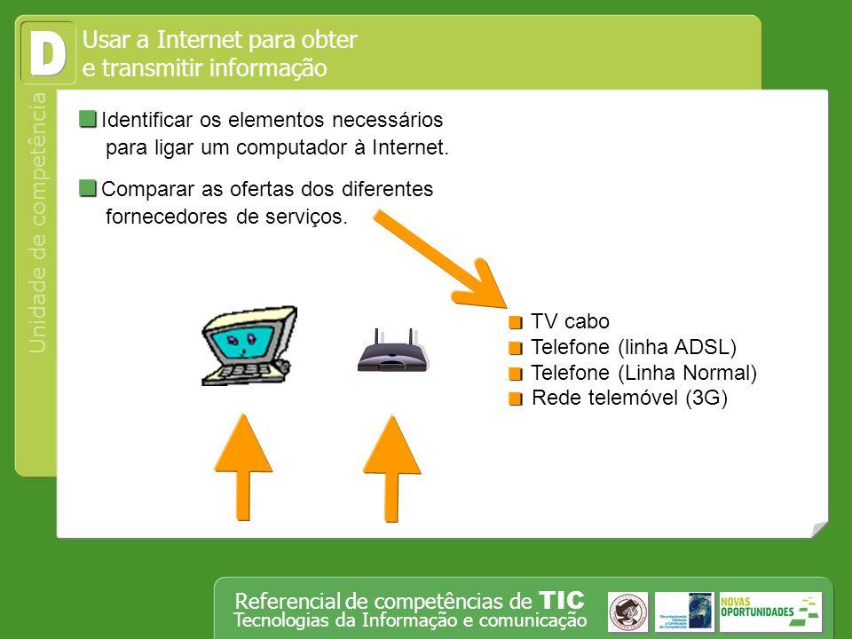 Usar a Internet para obter e transmitir informação