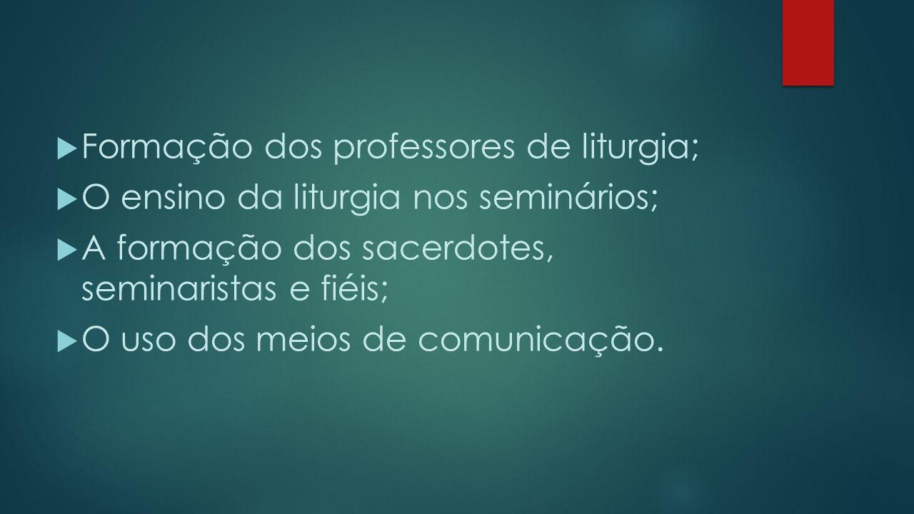 Formação dos professores de liturgia;