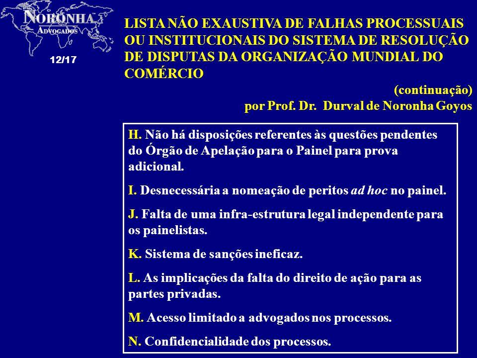 LISTA NÃO EXAUSTIVA DE FALHAS PROCESSUAIS OU INSTITUCIONAIS DO SISTEMA DE RESOLUÇÃO DE DISPUTAS DA ORGANIZAÇÃO MUNDIAL DO COMÉRCIO