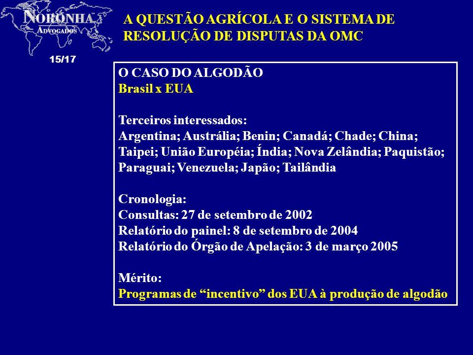 A QUESTÃO AGRÍCOLA E O SISTEMA DE RESOLUÇÃO DE DISPUTAS DA OMC