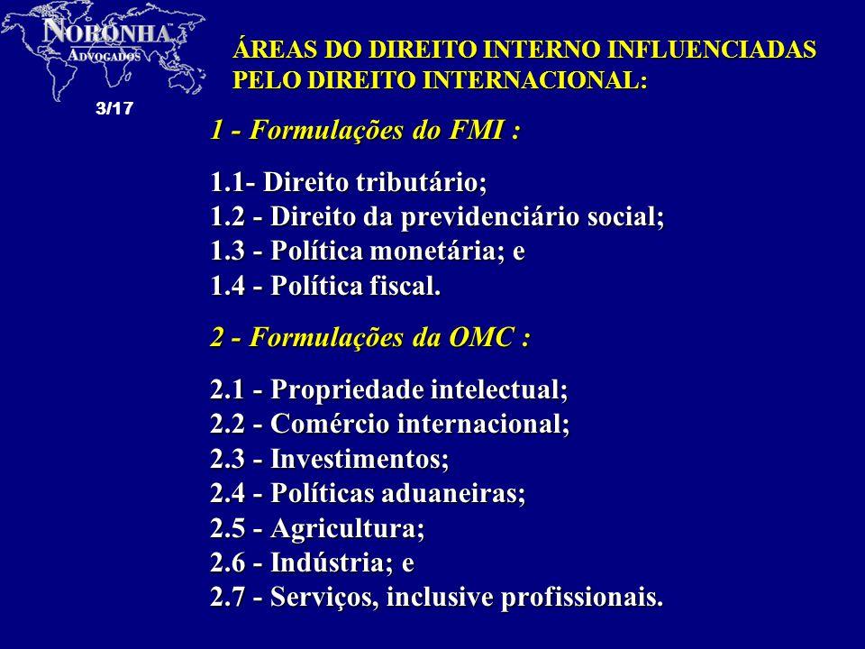 1.2 - Direito da previdenciário social; 1.3 - Política monetária; e
