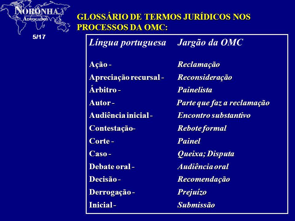 Língua portuguesa Jargão da OMC